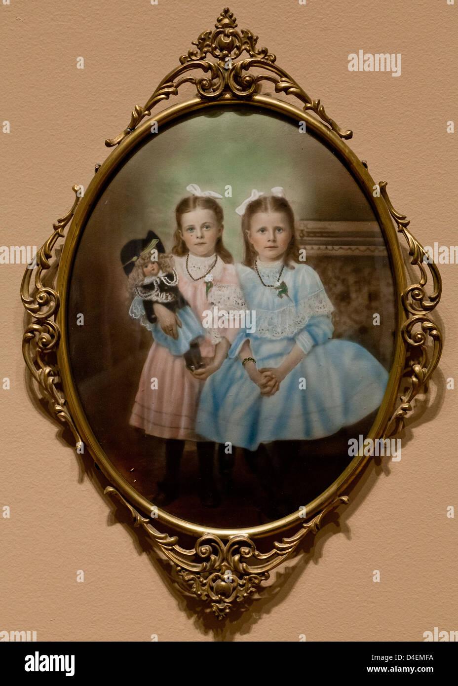Ferrotype colorisée photographie du 19e siècle Photo Stock
