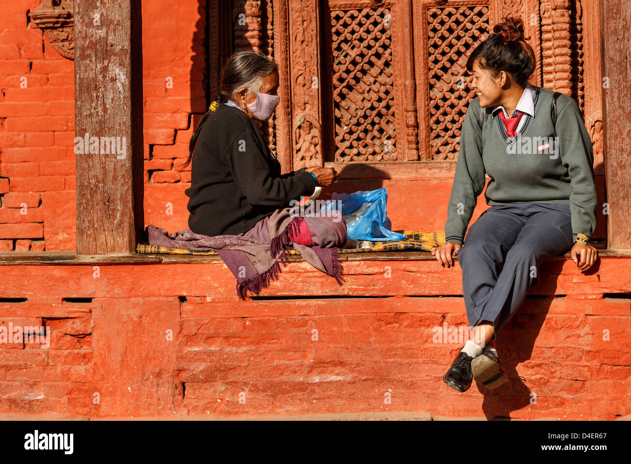 Deux générations, Katmandou, Népal Photo Stock