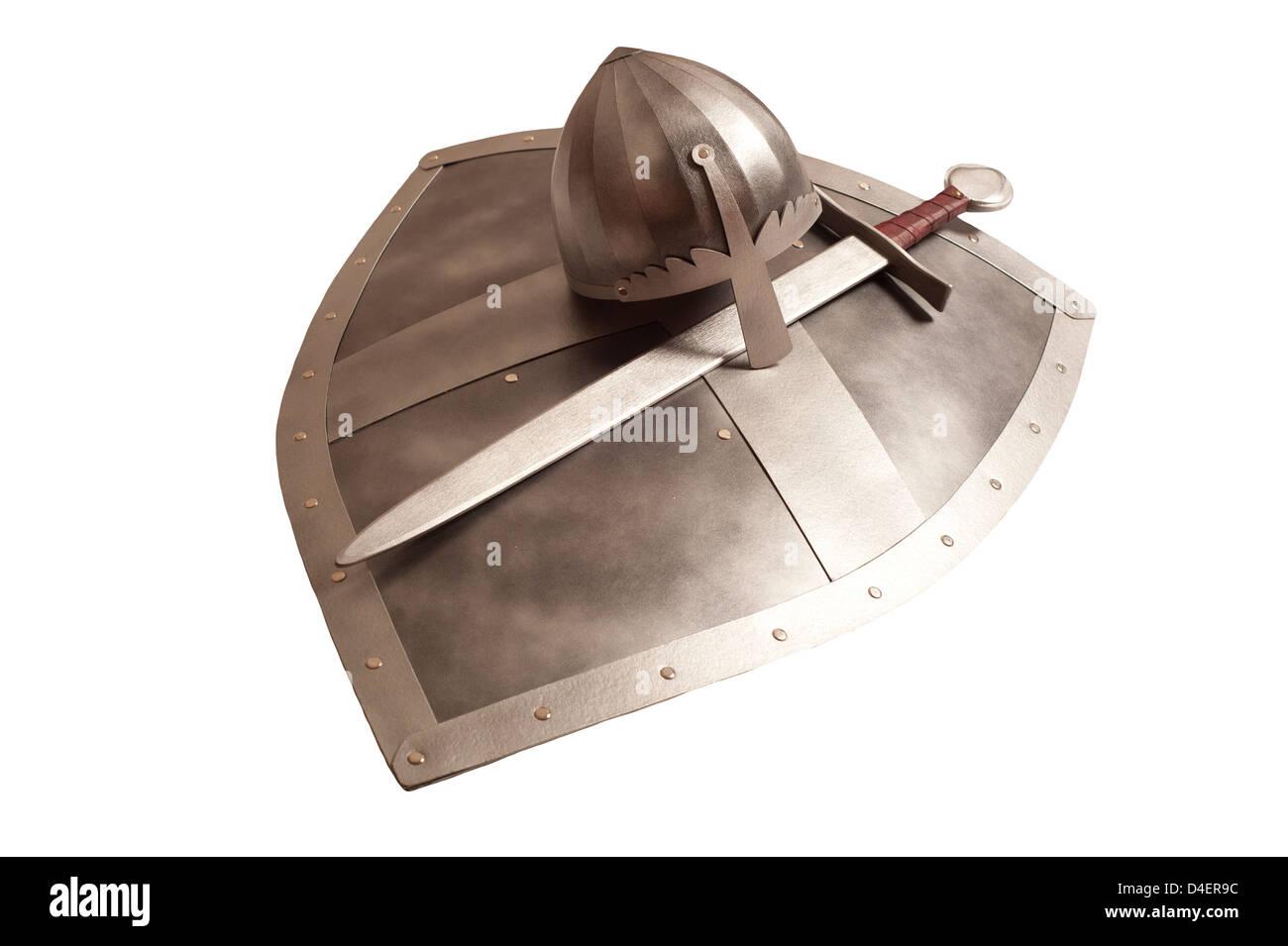 Bouclier épée médiévale et helm Photo Stock