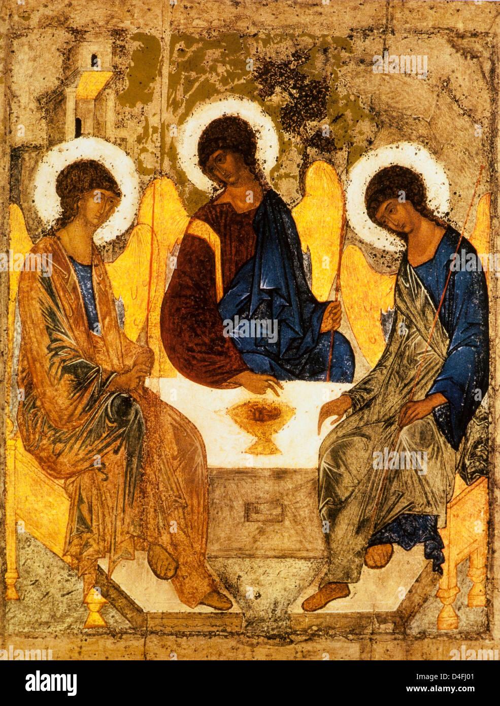 Icône de la Trinité, ch. 1411 par Andrei Rubley à la Galerie Tretiakov, Moscou Photo Stock