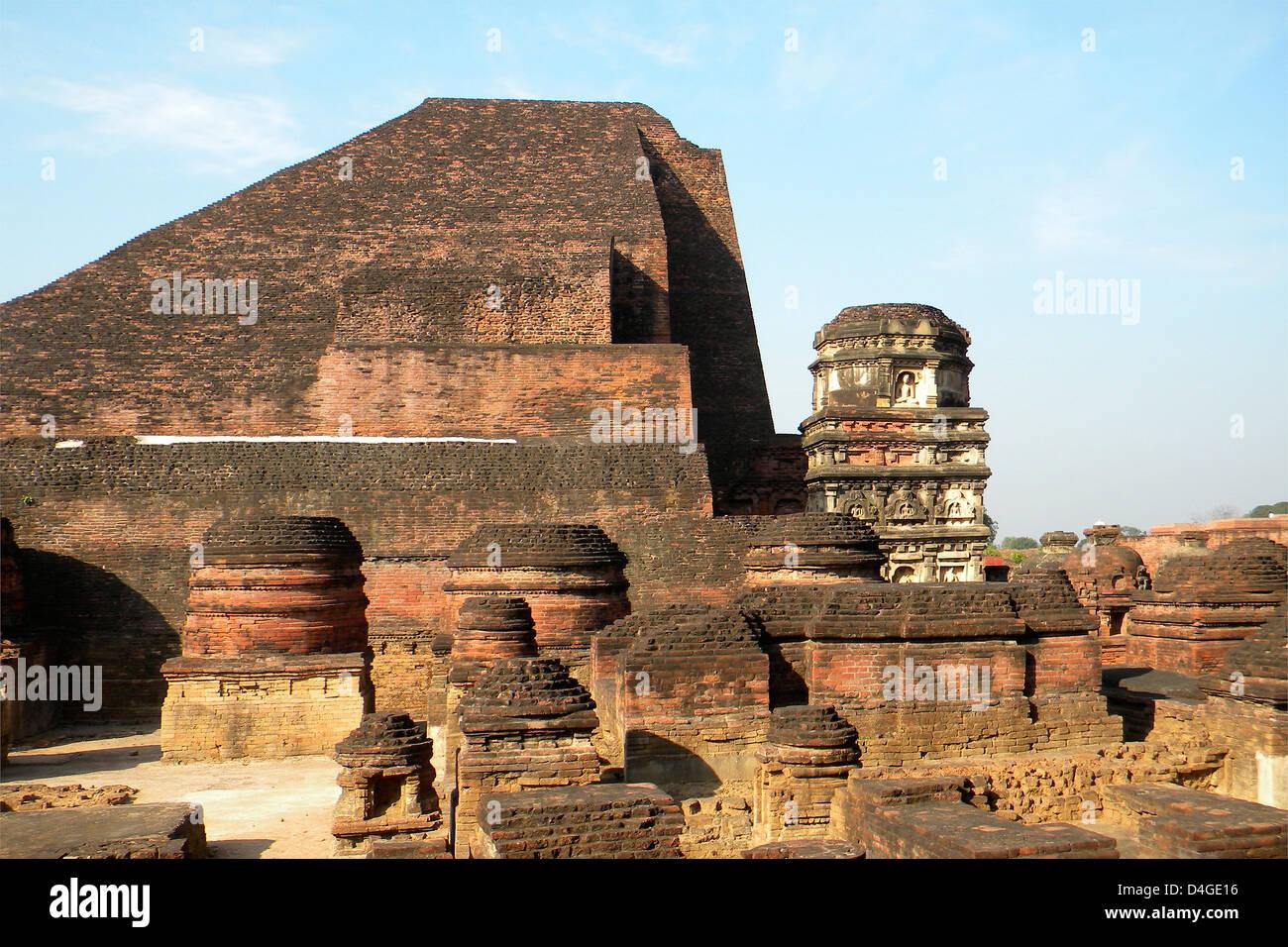 L'Inde, le Bihar, le temple de Nalanda Photo Stock