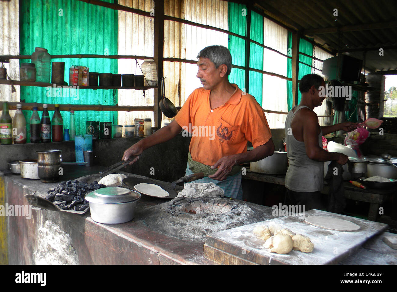L'Inde, le Bihar, Khushinagar, restaurant local Photo Stock