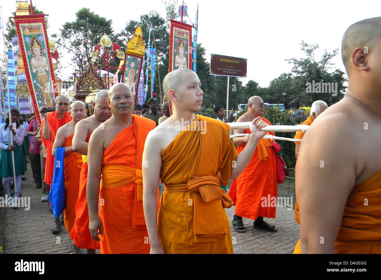 L'Inde, le Bihar, Khushinagar, procession Mahaparinirvana Photo Stock