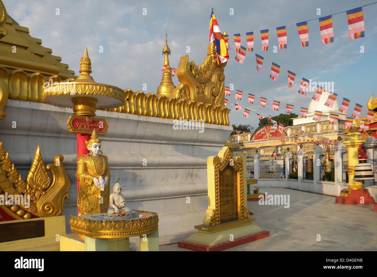 L'Inde, le Bihar, Khushinagar, temple Mahaparinirvana Photo Stock