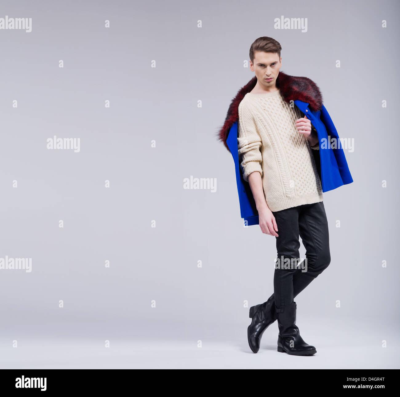 Slim grave guy in natural poser Photo Stock
