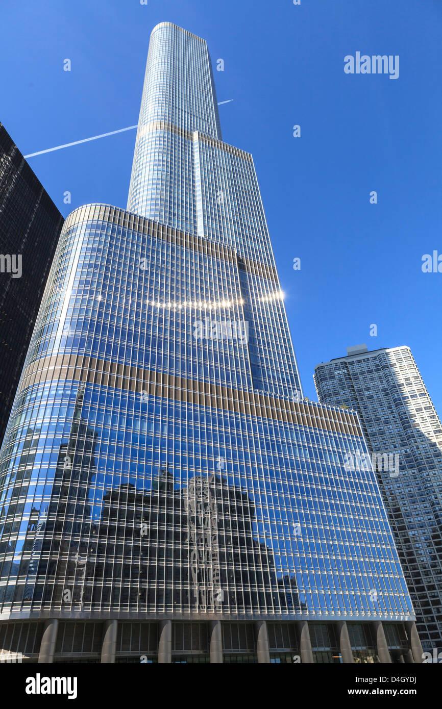 Trump Tower, Chicago, deuxième plus grand bâtiment, Chicago, Illinois, États-Unis Photo Stock