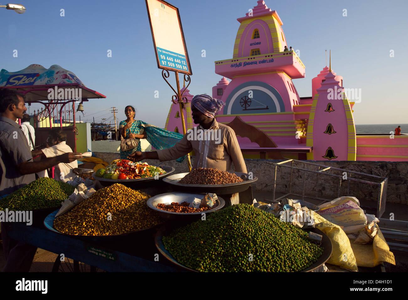 Le cap Comorin symbole à l'extrême pointe sud de l'Inde Photo Stock