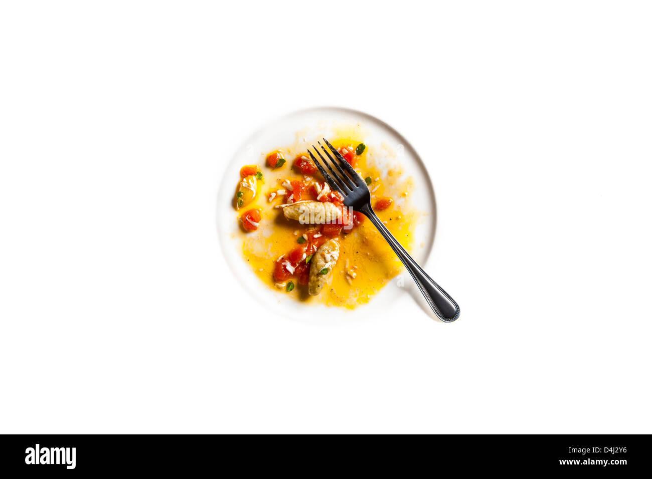 Les aubergines gnocchis à la tomate fraîche et de la Ricotta Salata Banque D'Images