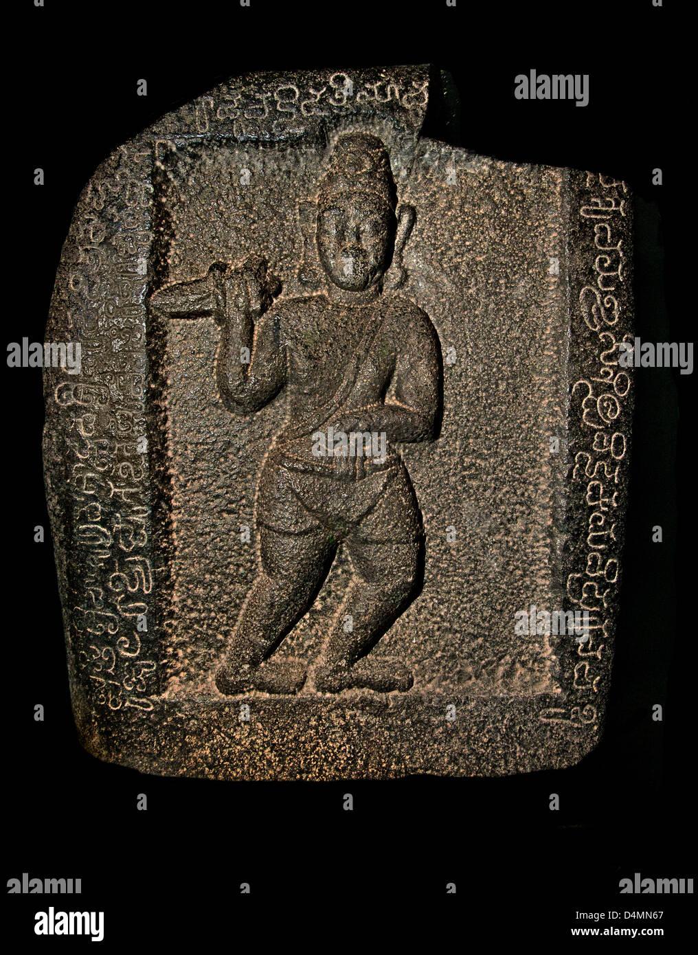 Pierre héros guerrier avec épée 7e siècle hindou Inde Nellore Photo Stock