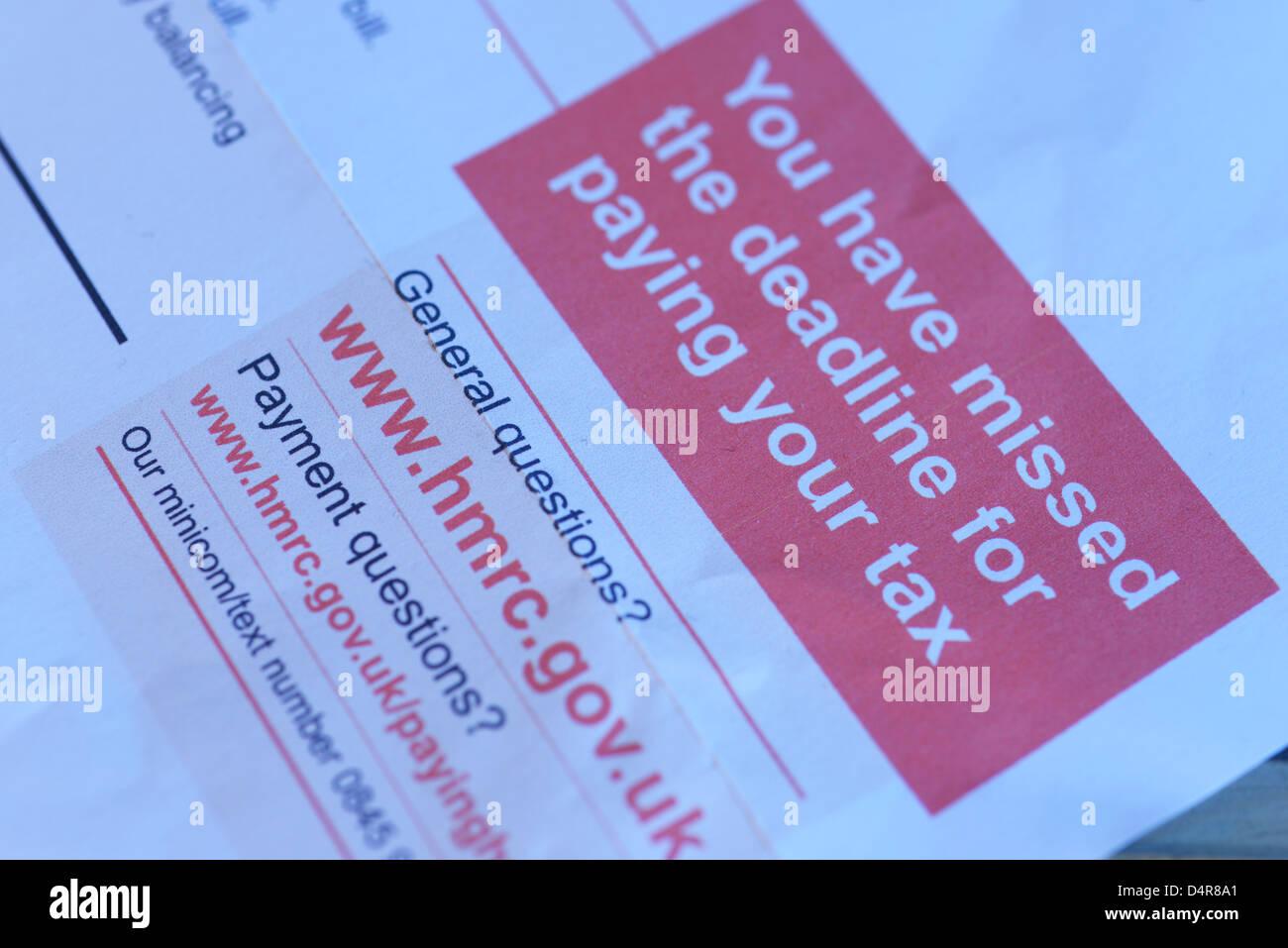 HM Revenue & Customs, HMRC auto évaluation de la demande finale de la lettre de rappel. Photo Stock