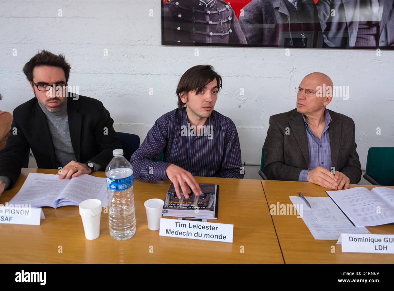 Paris, France.Groupe de conférenciers, 'Medecine du Monde', (Médecins Français) 'Ligue Photo Stock