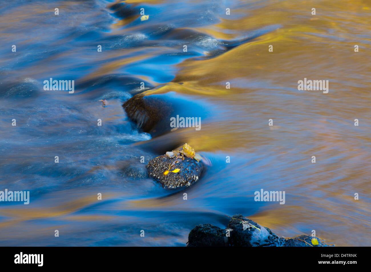 Les tendances de l'automne sur la surface d'un ruisseau, dans le comté de Mayo, Irlande. Photo Stock