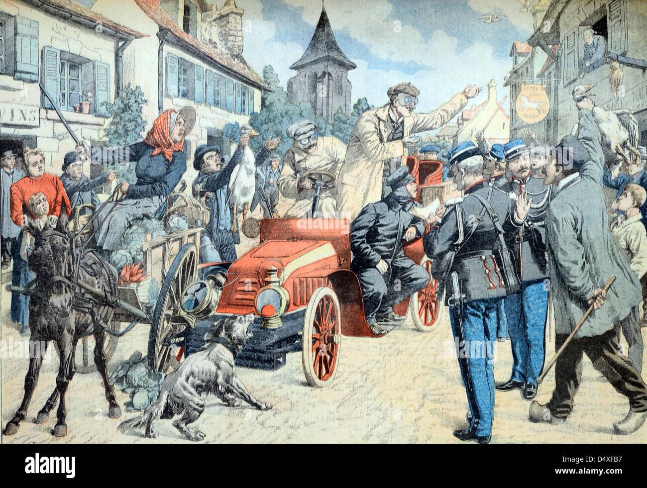 Vintage ou ancienne illustration d'un accident automobile précoce ou d'un accident de la circulation avec cheval Banque D'Images