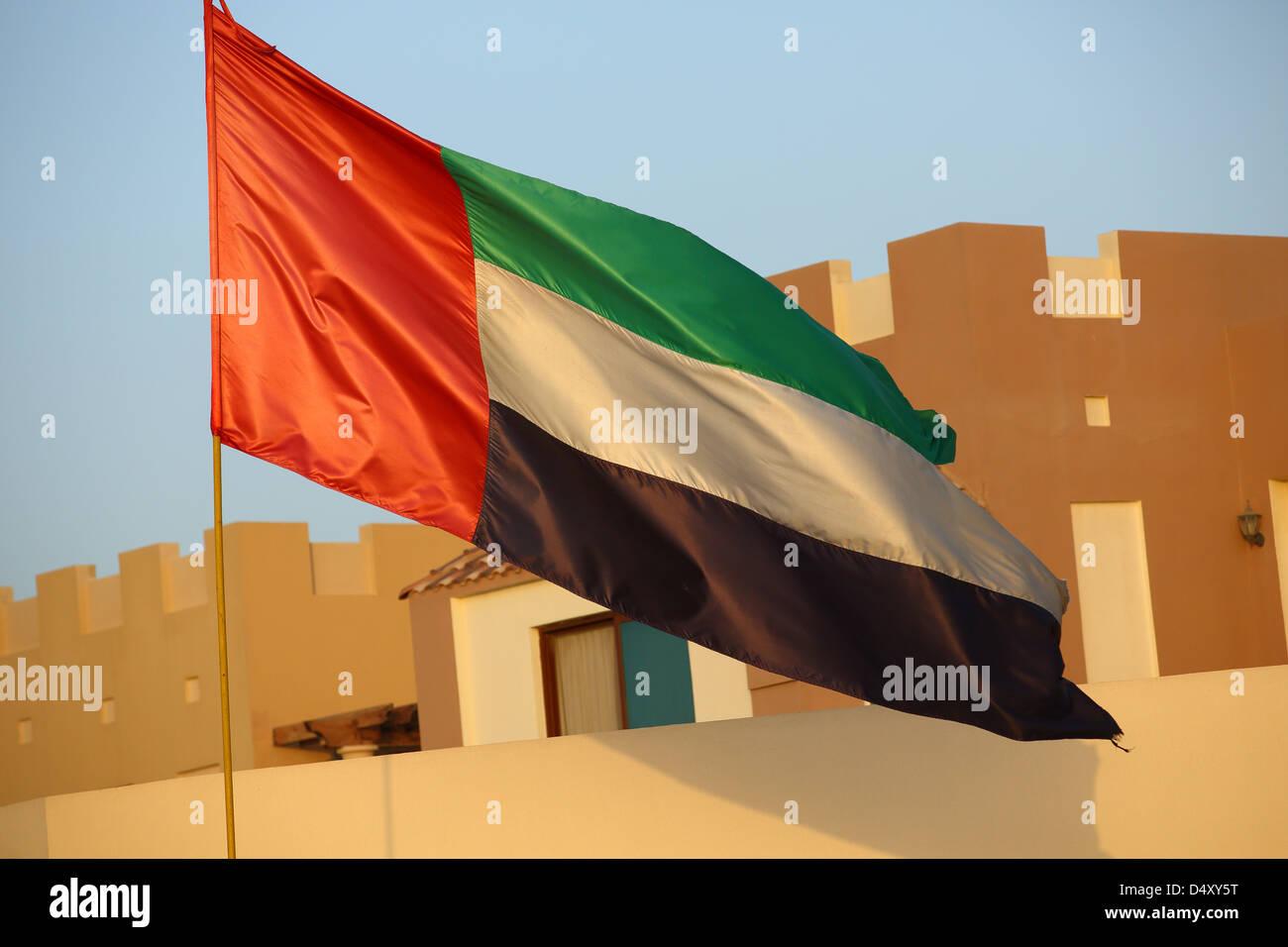 Emirats Arabes Unis drapeau national, Dubaï Photo Stock