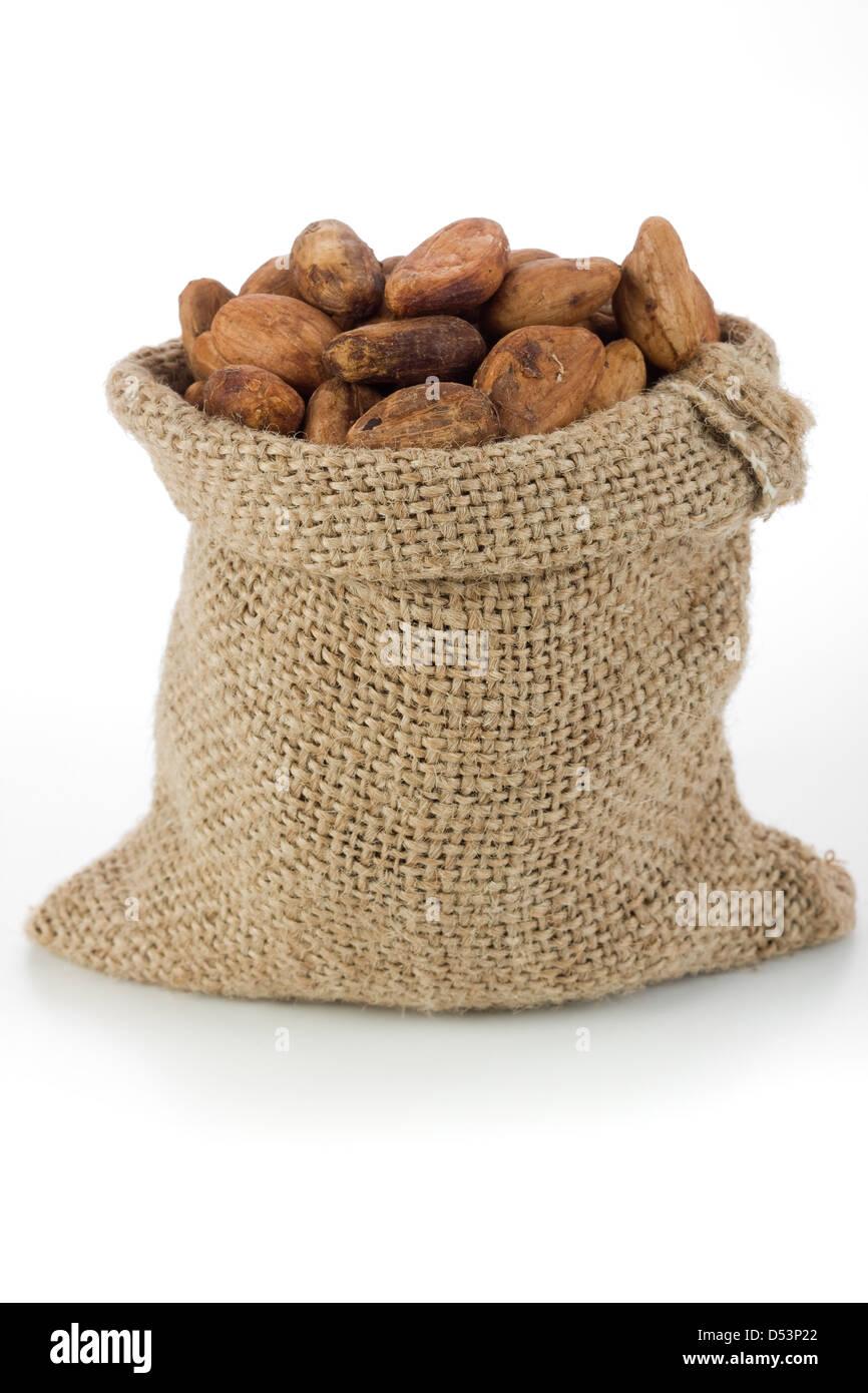 Les fèves de cacao en sac de toile Photo Stock