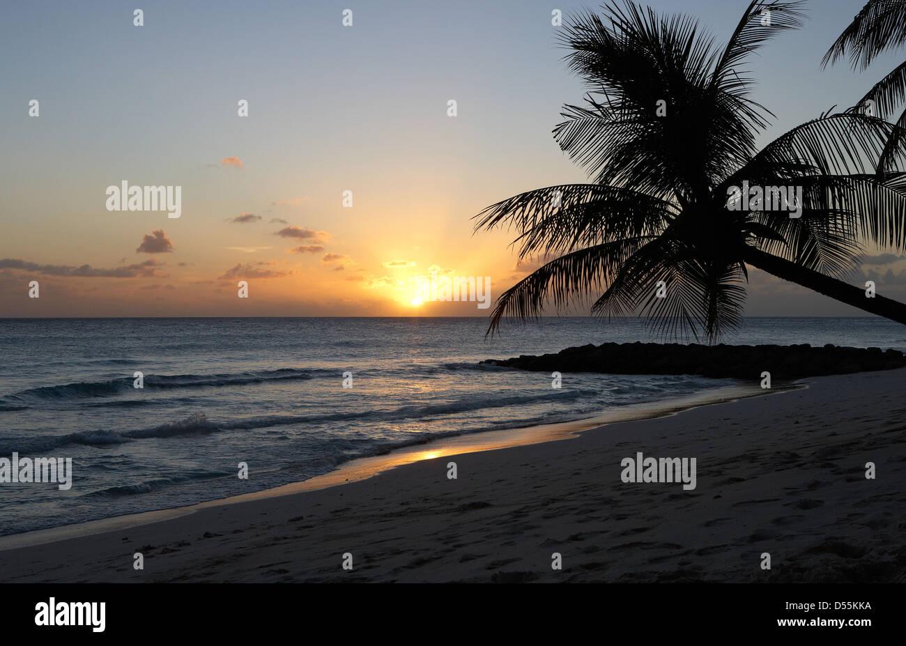 Saint Lawrence Gap, Barbade, soirée à Dover Beach Banque D'Images