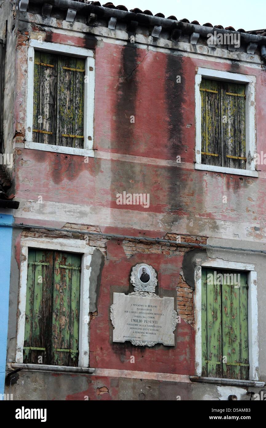 Maison délabrée à Venise Italie Photo Stock