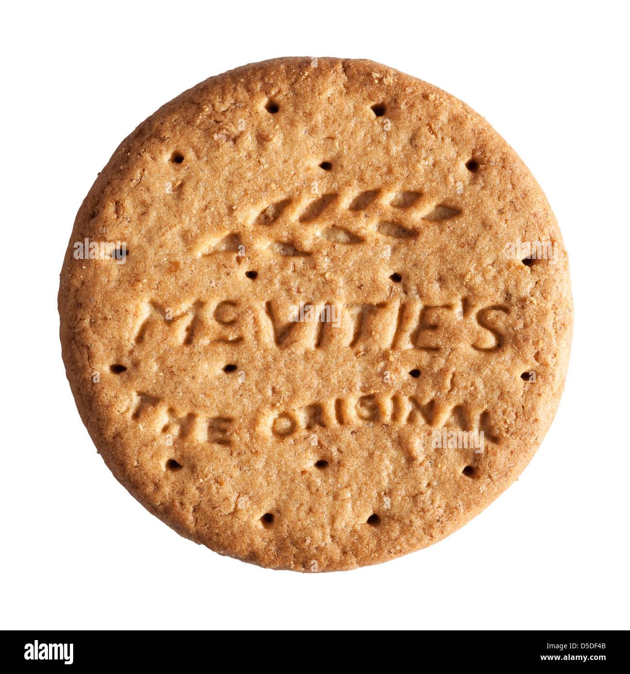 Un biscuit Mcvitie's digestives d'origine sur un fond blanc Photo Stock