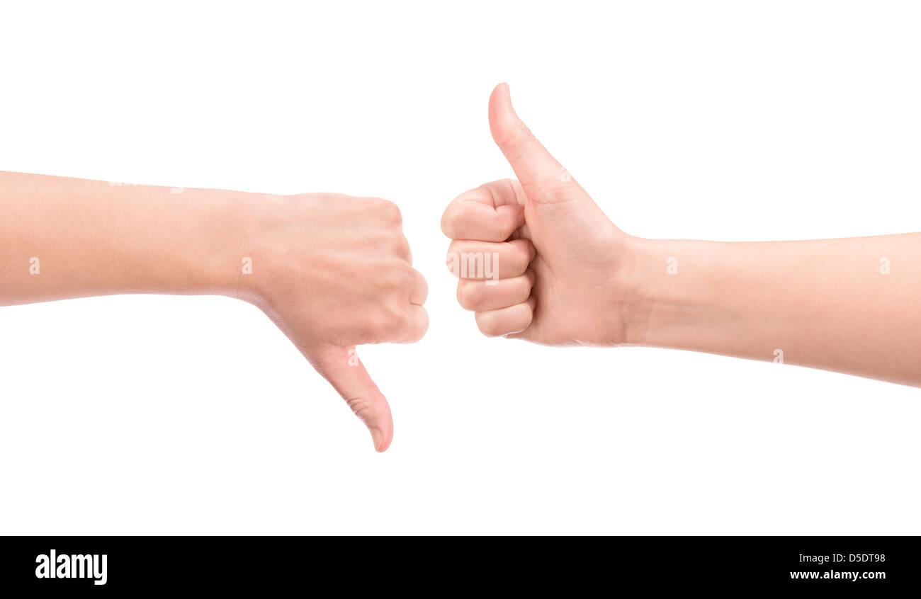 Peser tous les avantages et les inconvénients du concept des gestes. Isolé sur blanc. Banque D'Images