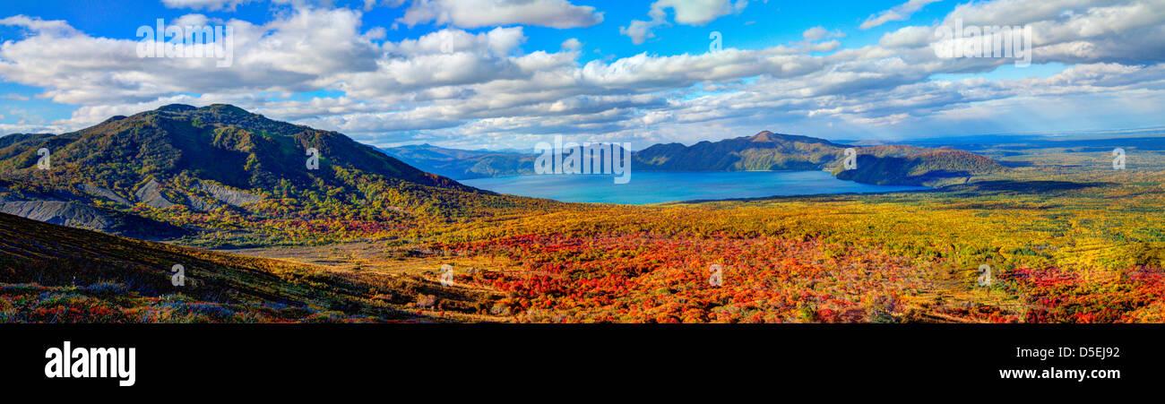 Paysage dans le Parc National de Shikotsu-Toya à Hokkaido, au Japon. Photo Stock