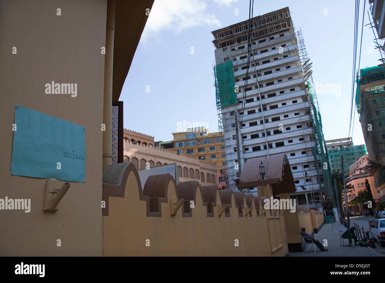 Dar es Salaam, Tanzanie. Bâtiment à côté de la mosquée Shia Ithnasheri, dans le centre Photo Stock