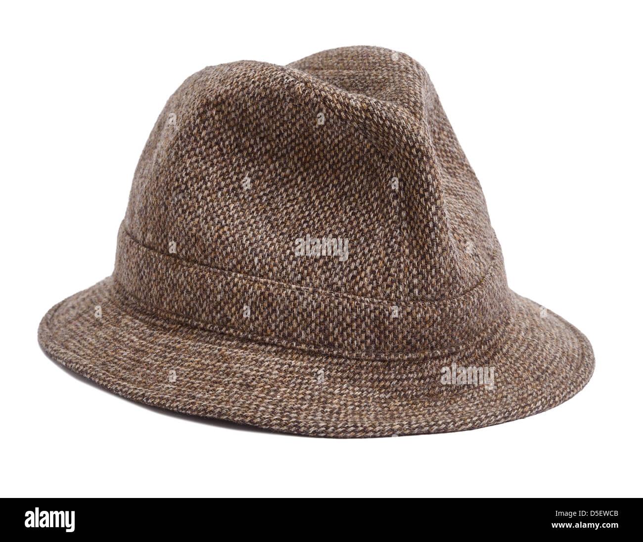 La laine marron tweed hat Photo Stock