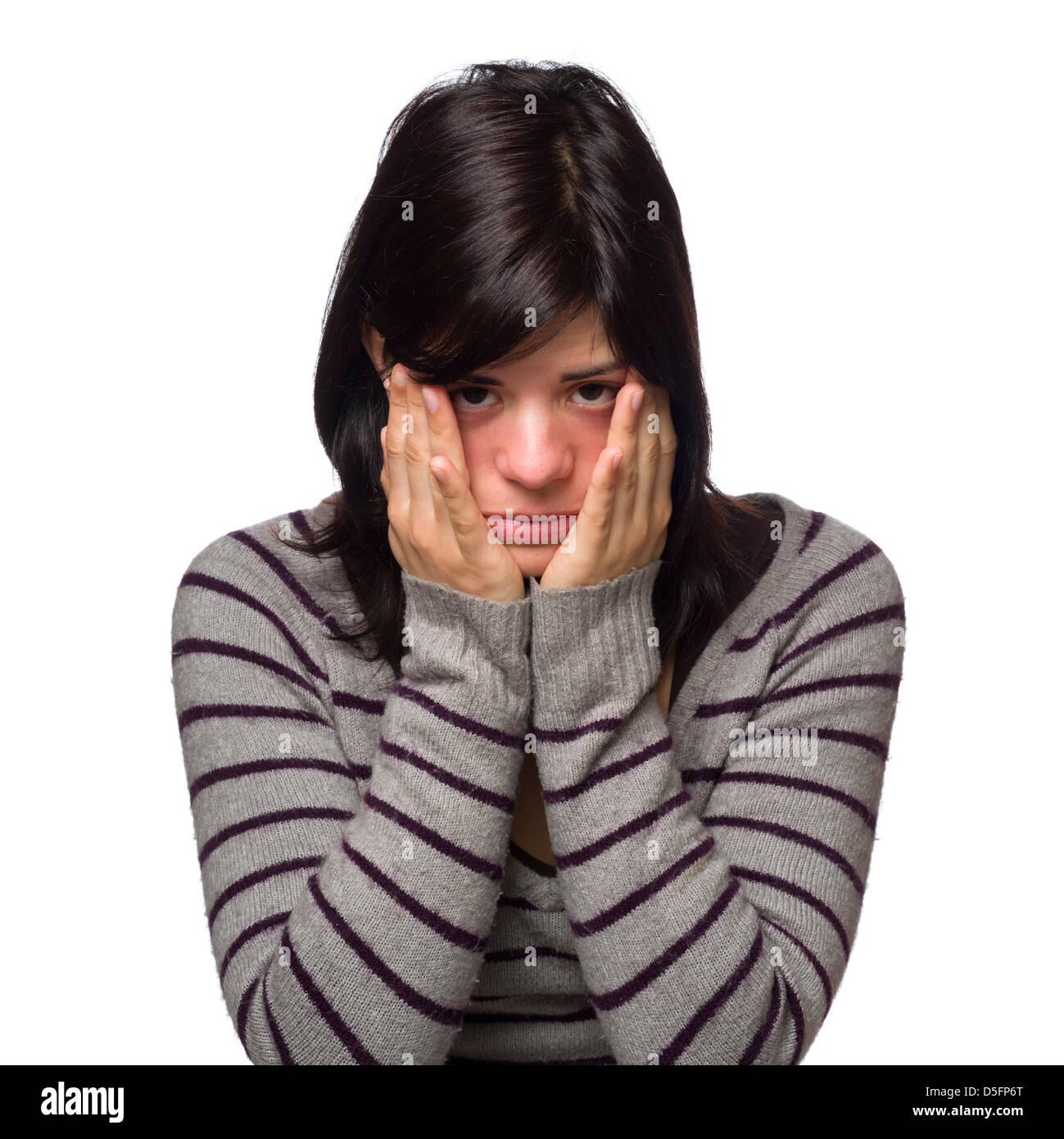Portrait de sad young woman with hands covering face Banque D'Images