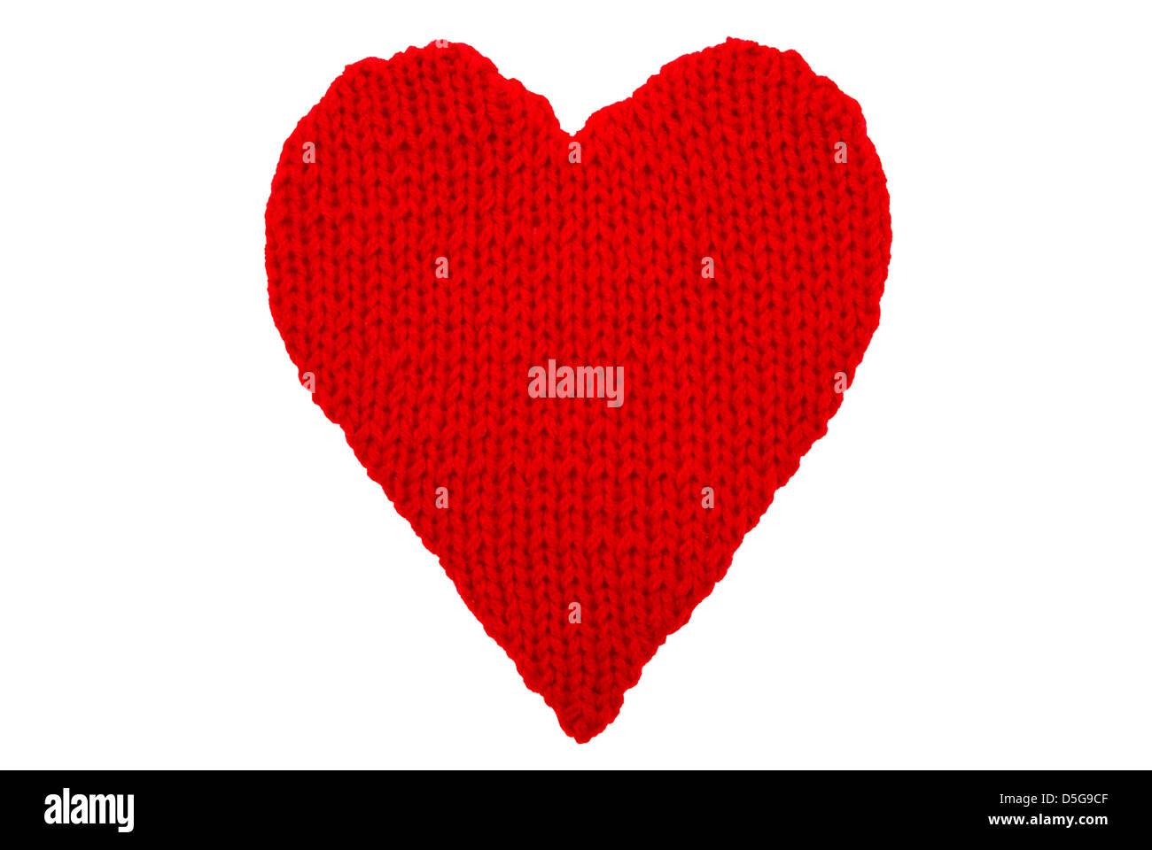 Coeur de laine faite sur les fils isolé sur fond blanc Photo Stock