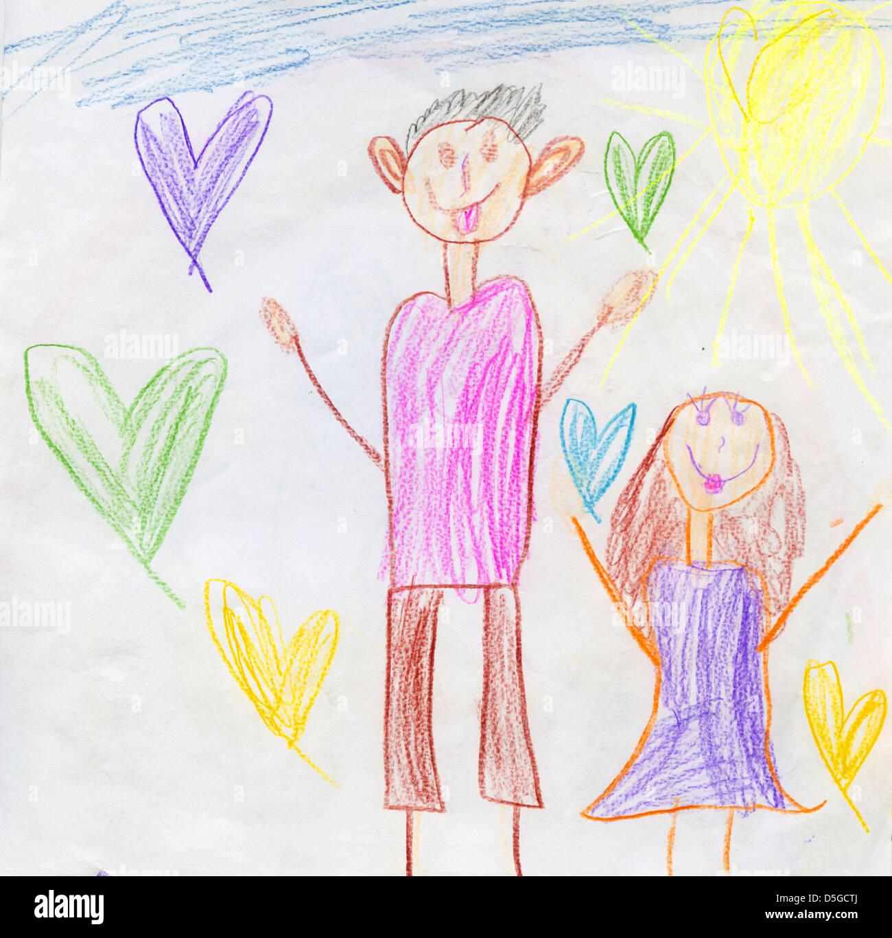Enfants Candide Dessin Au Crayon De Couleur Avec Lheureux