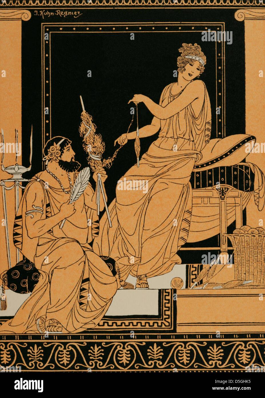 La mythologie grecque. Héraclès et Omphale. Dessin de J. Kuhn Regnier. Photo Stock