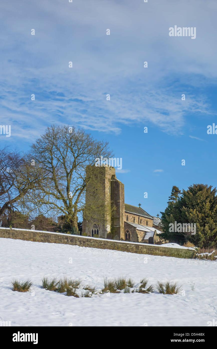 All Saints Church en hiver, Ripley, Yorkshire du Nord. Photo Stock