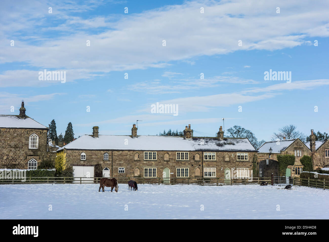 Ripley village en hiver, Yorkshire du Nord. Photo Stock