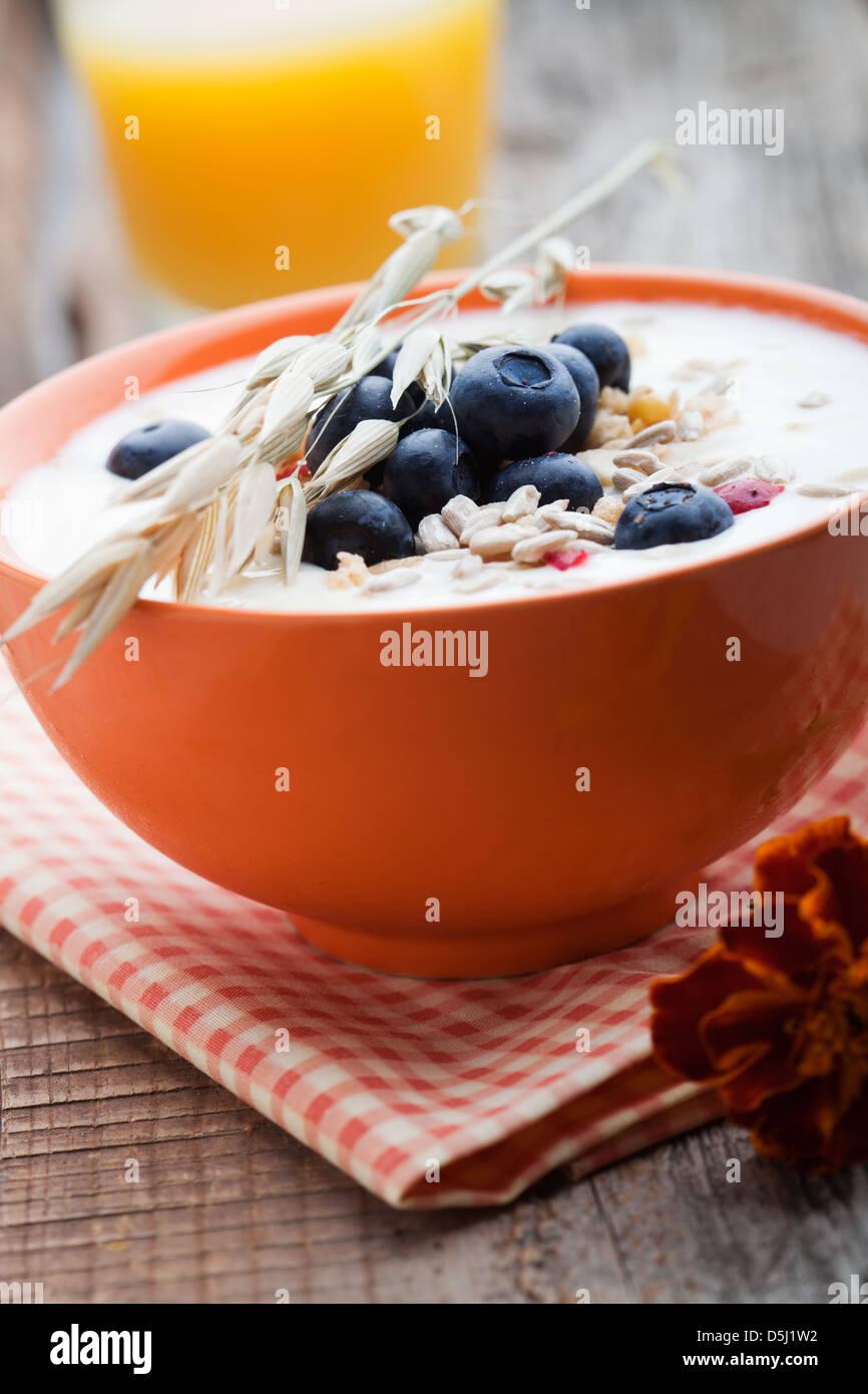 Le yogourt avec des bleuets frais et fruits muesli Photo Stock