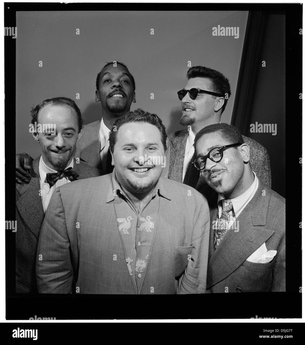 [Portrait de dave Lambert, John Simmons, chubby Jackson, George handy et Dizzy Gillespie, William P. Gottlieb's Photo Stock