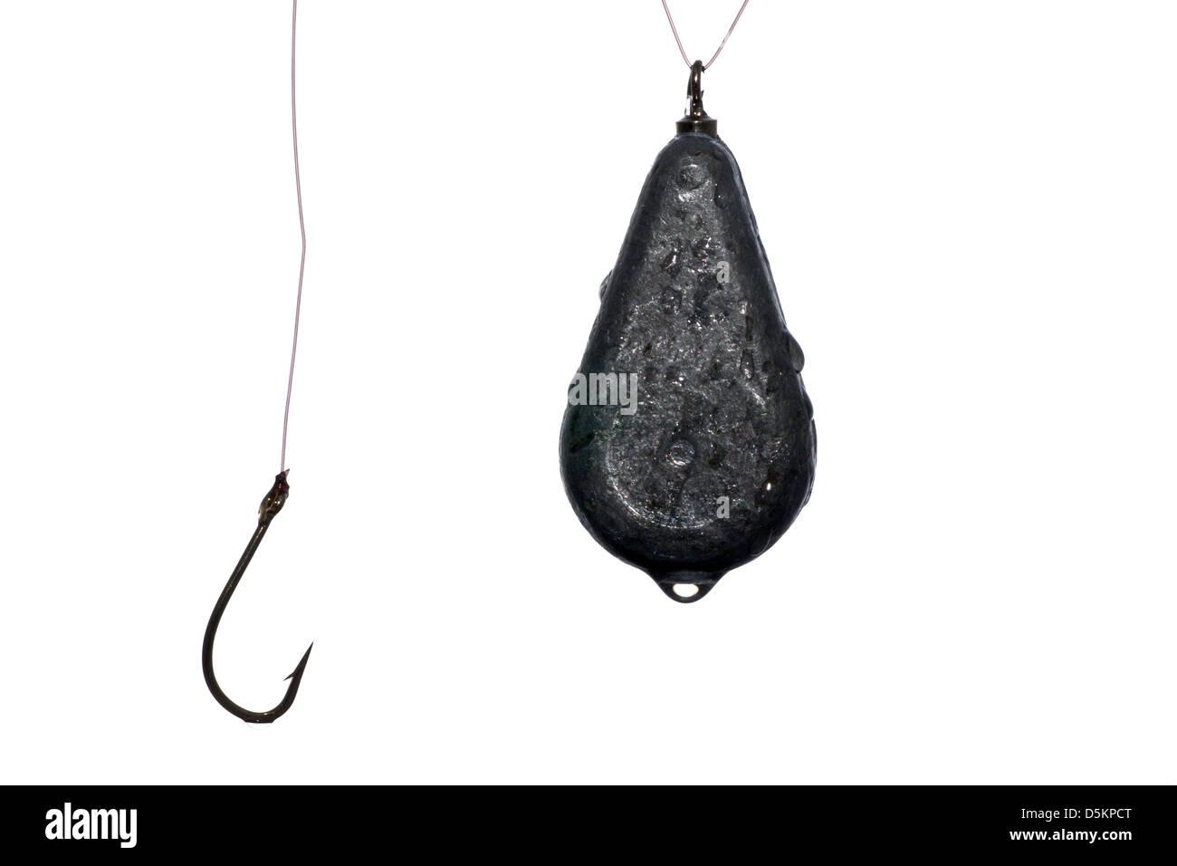 Crochet de pêche avec la ligne et le poids des gouttes avec de l'eau Photo Stock
