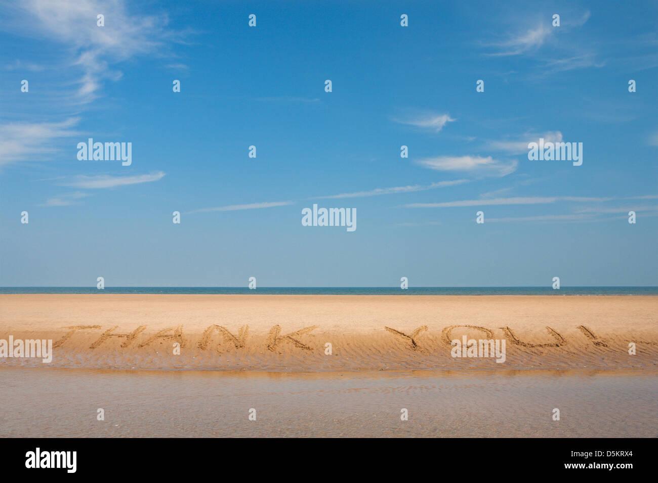 Je vous remercie; MESSAGE; écrit; Plage; communication; sable; l'ÉCRITURE Photo Stock