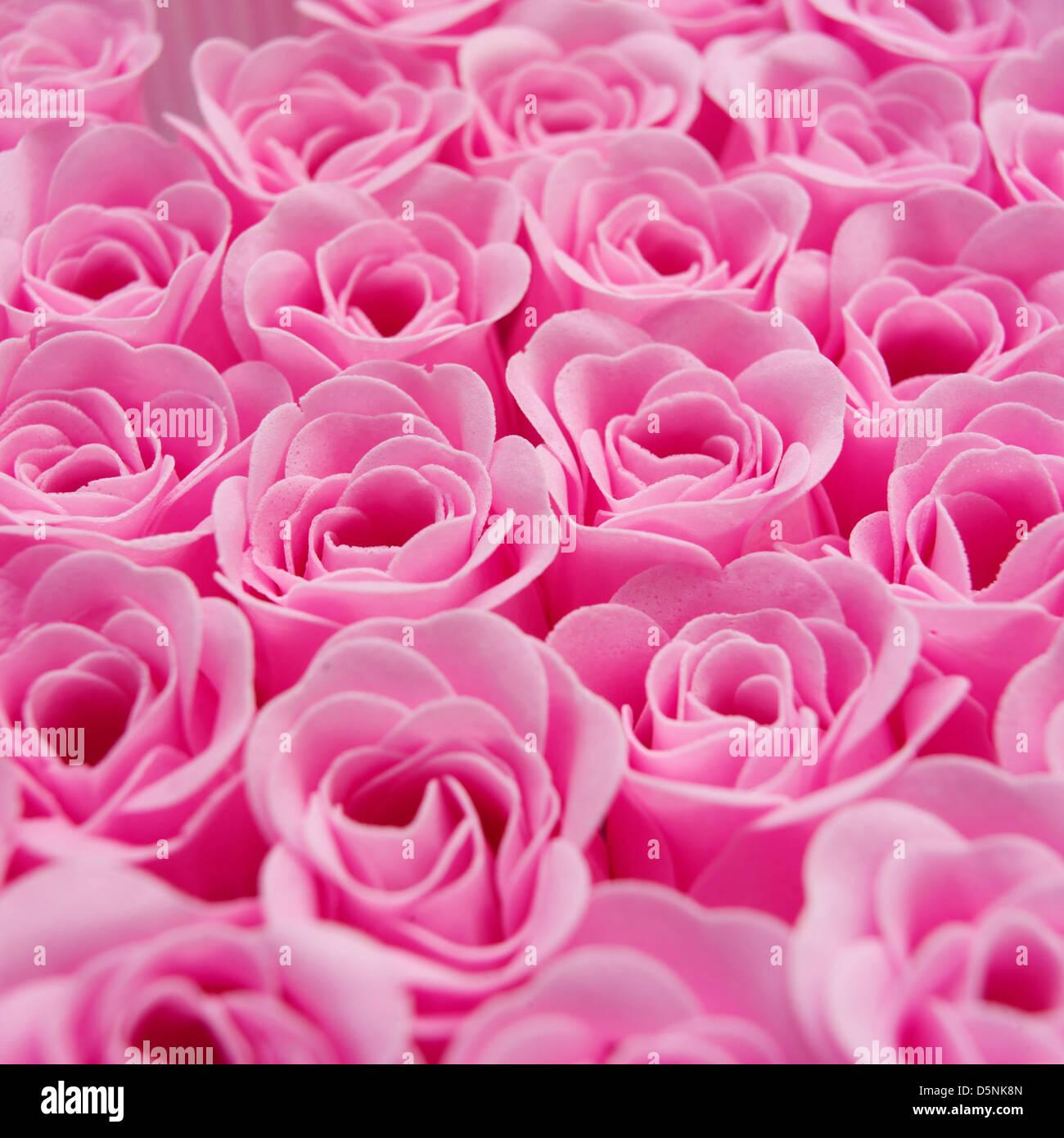 Roses roses artificielles Photo Stock
