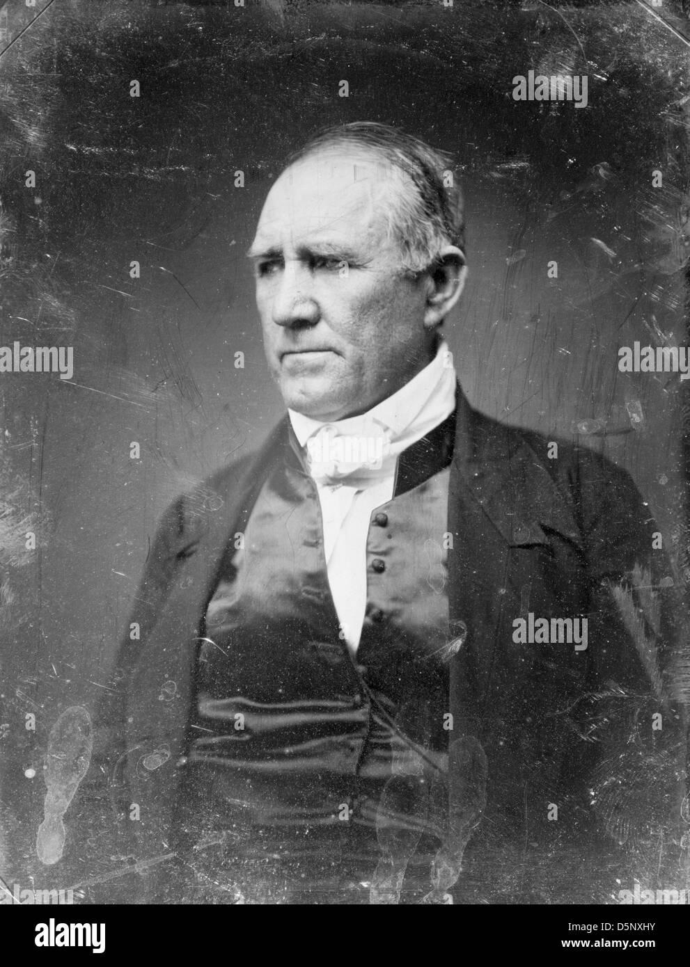 Sam Houston, half-length portrait, trois-quarts vers la gauche, en tenue civile, rasé, daguerréotype Photo Stock