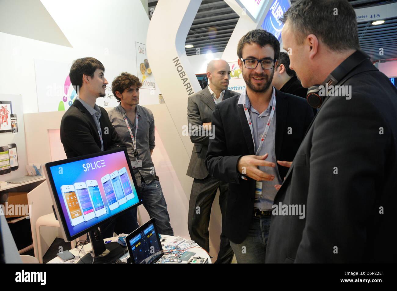 Nacho Sanchez, fondateur: INqBarna. créer des APPS. Mobile World Congress 2013 à Barcelone. 270213. Photo Stock