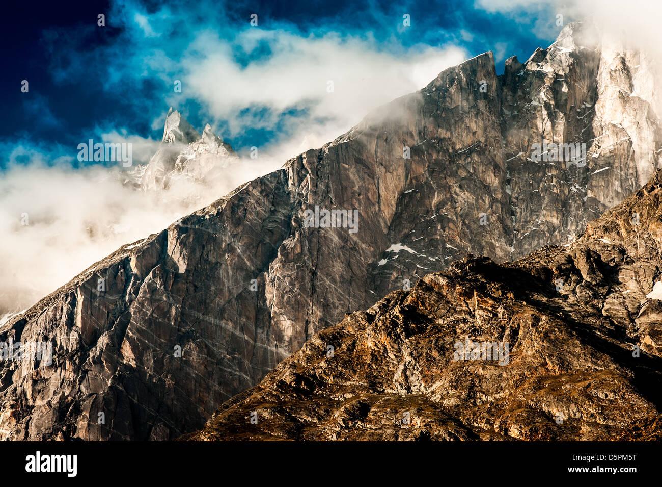 Paysage de montagne. La vallée de Spiti, Himachal Pradesh, Inde Photo Stock
