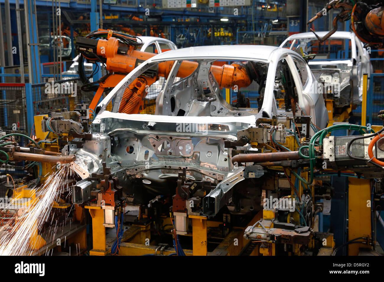 Ford Fiesta production sur la ligne d'assemblage, l'usine de Cologne, Allemagne Photo Stock