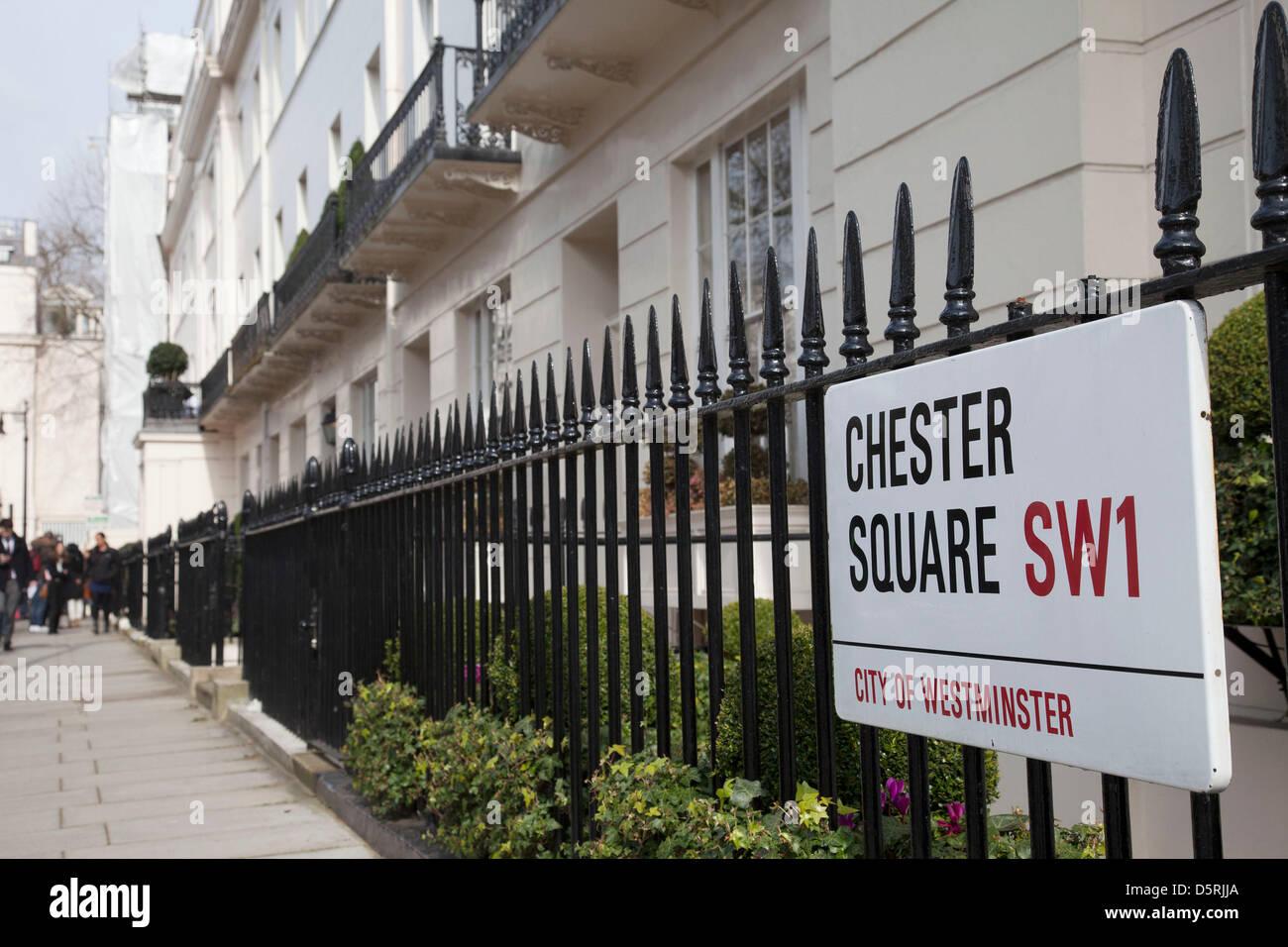 London residence sur Chester Square de la baronne Margaret Thatcher à la suite de l'annonce de sa mort. Maggie Thatcher Banque D'Images
