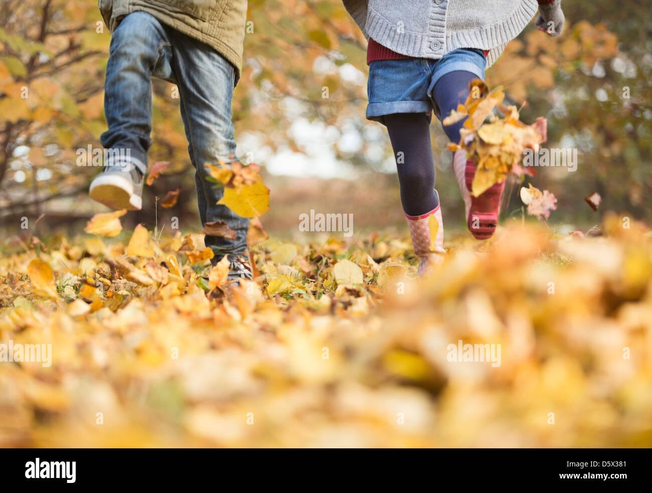 Les enfants marcher dans les feuilles d'automne Photo Stock