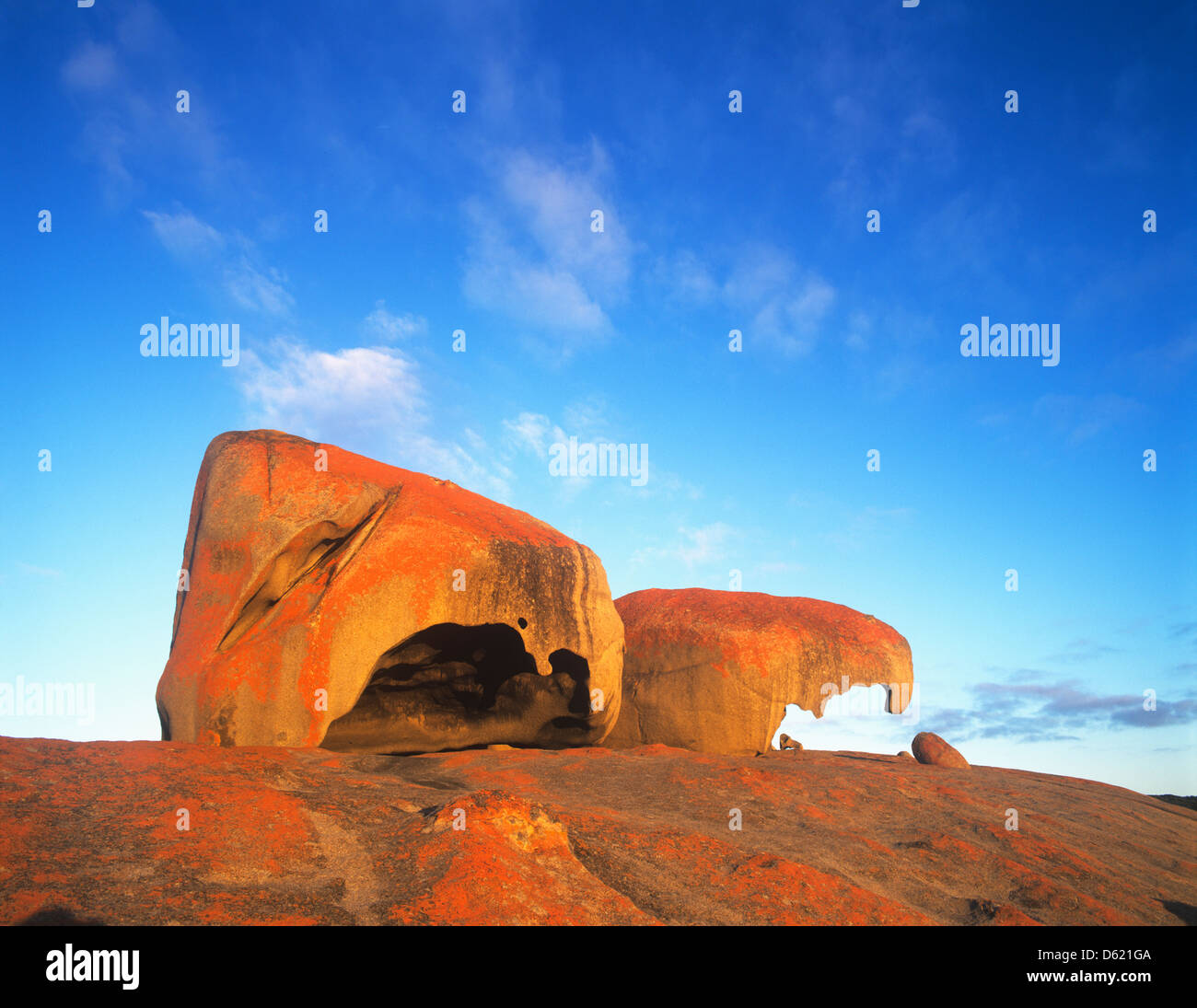 L'Australie du Sud, Kangaroo Island, parc national de Flinders Chase, vue de Remarkable Rocks Photo Stock