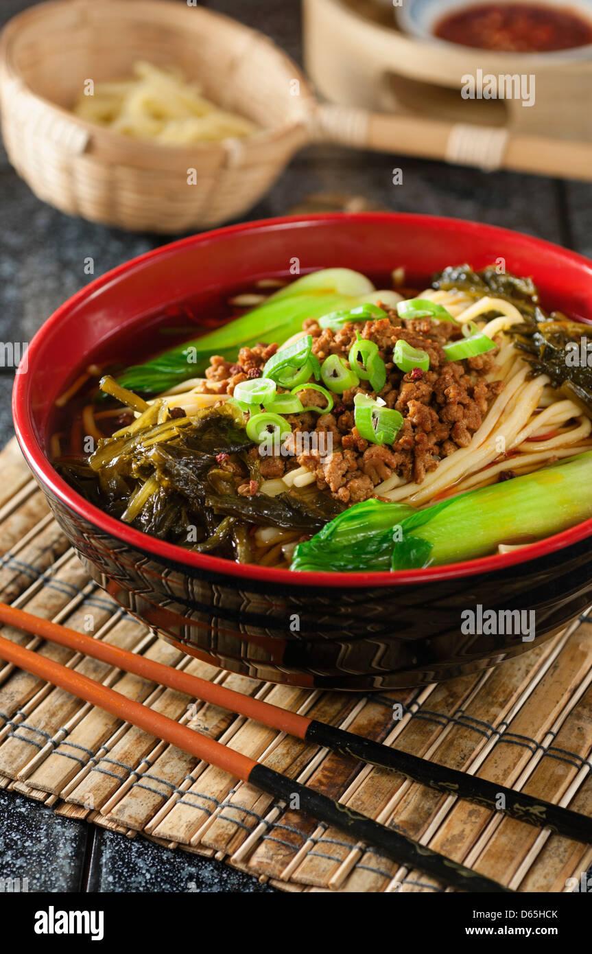 Dan Dan noodles Szechuan Chine alimentaire Photo Stock
