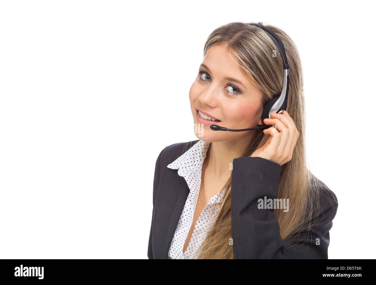 Opérateur de téléphone de l'assistance en casque, on white Photo Stock