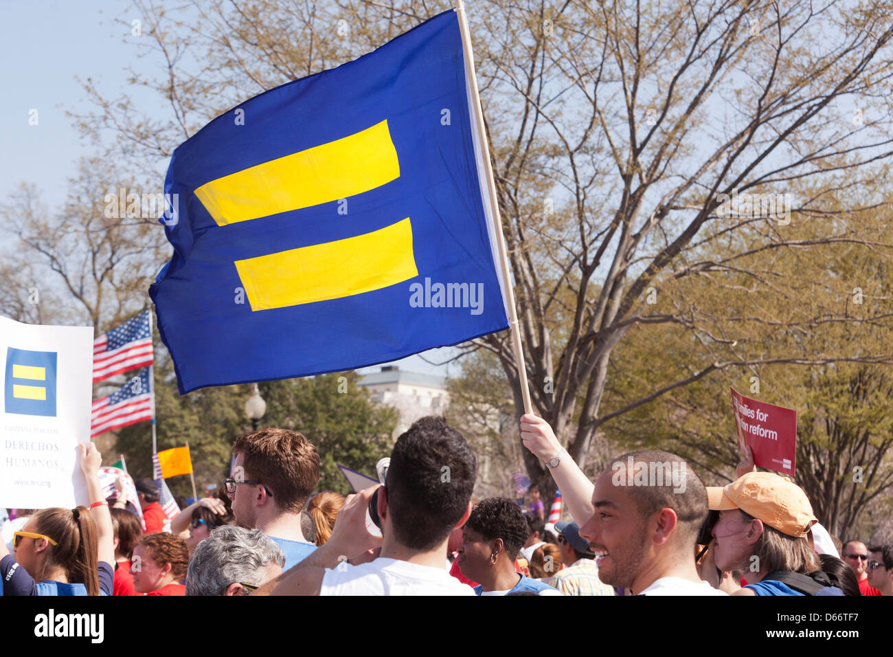 L'indicateur de symbole de l'égalité dans la foule Photo Stock