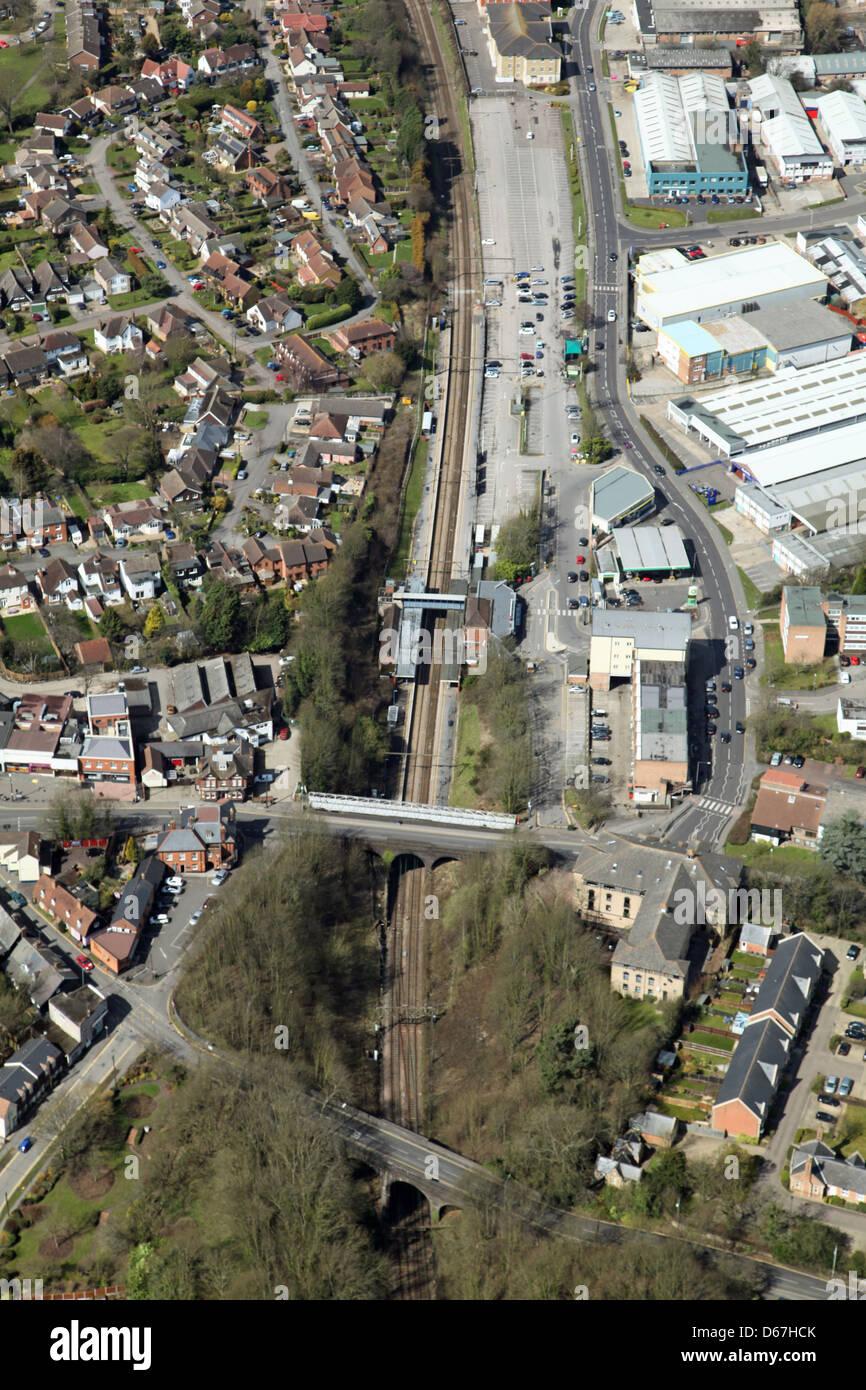 Vue aérienne de la gare de Billericay, Essex Banque D'Images