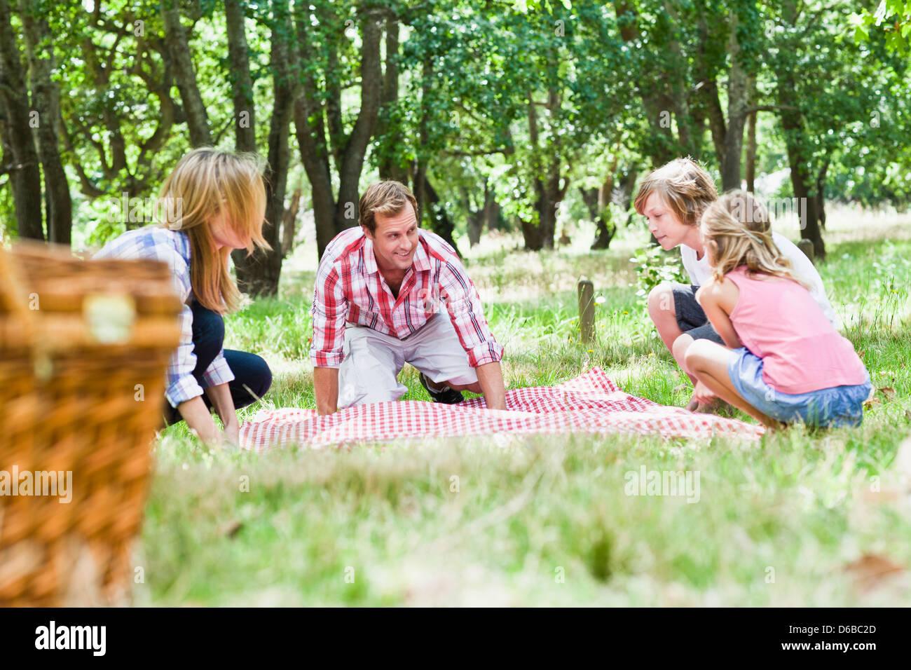 Family having picnic in park Photo Stock