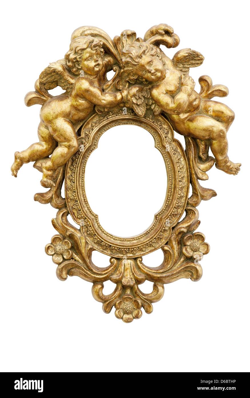 Petit miroir avec des anges en or Photo Stock